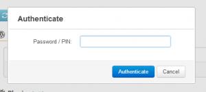 iControlWP: Enter Password or PIN dialog