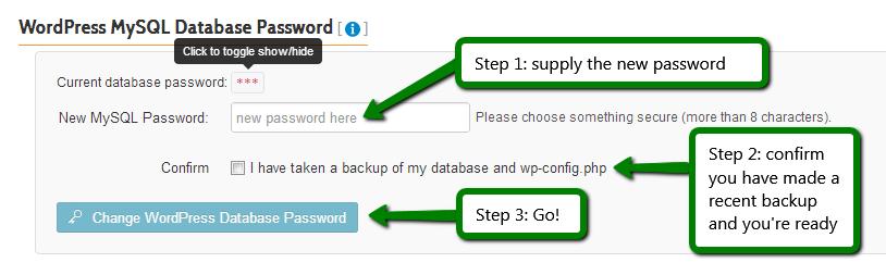 iControlWP: Reset WordPress MySQL Database User Password