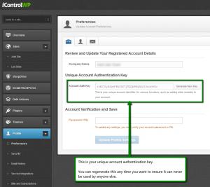 iControlWP Unique Account Authentication Key