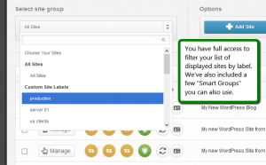 iControlWP Select Sites To Manage By Label (Group Name)