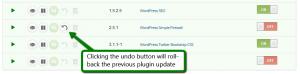 iControlWP WordPress Plugin Update Undo Feature