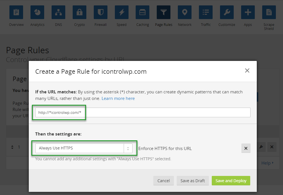 Create a new Cloudflare Page Rule