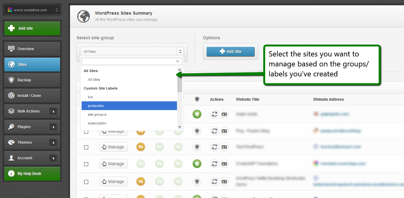 iControlWP Features Screenshot - Global and Group Updates Management