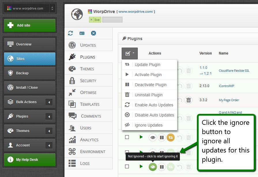 iControlWP Features Screenshot - Ignore Plugin Updates