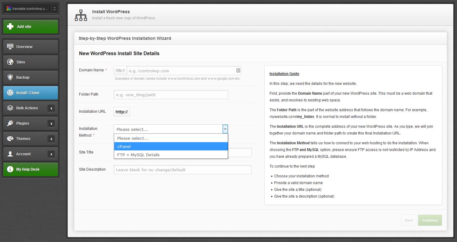 iControlWP Features Screenshot - Install WordPress