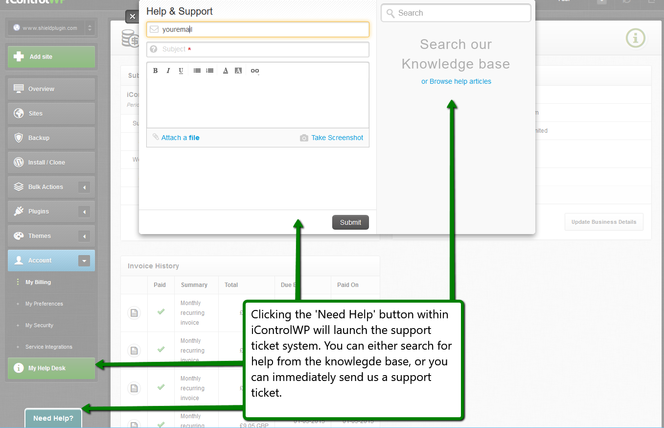 iControlWP Features Screenshot -Integrated Help
