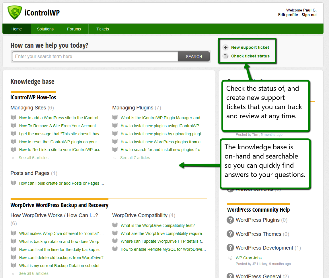 iControlWP Features Screenshot - Integrated Support Helpdesk