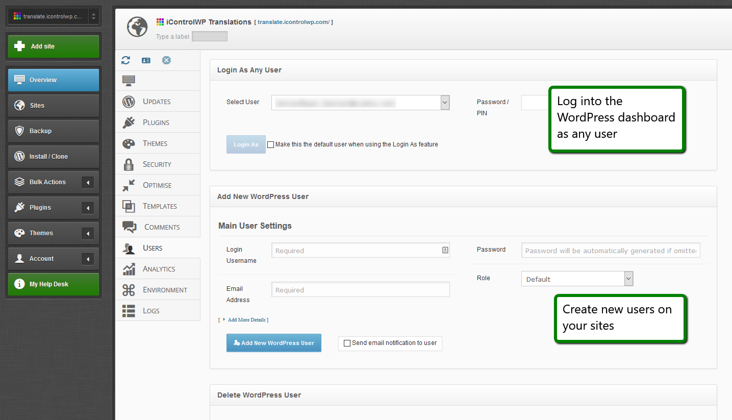 iControlWP Features Screenshot - Manage WordPress Users
