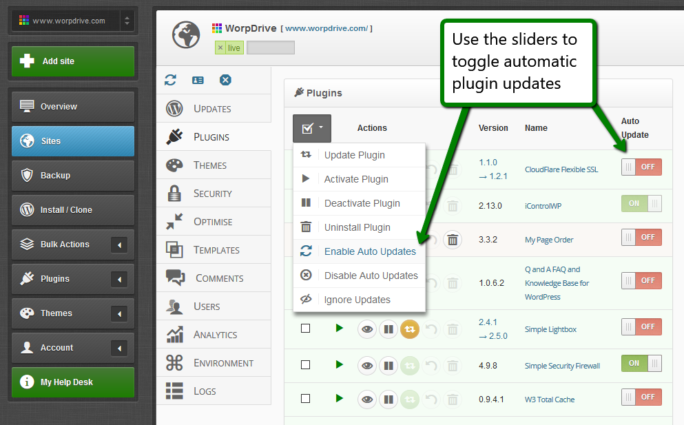 iControlWP Features Screenshot - WordPress Automatic Updates