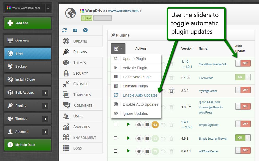 iControlWP Features Screenshot - WordPress Automatic Updates
