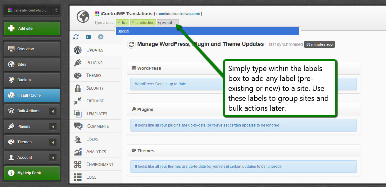 iControlWP Features Screenshot - Custom Site Groups