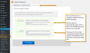 Screenshot: iControlWP Security Plugin - WordPress Core File Scanner