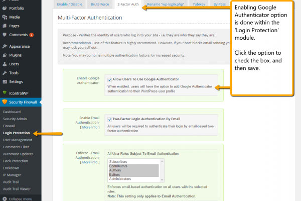 Shield Plugin: Google Authenticator Option