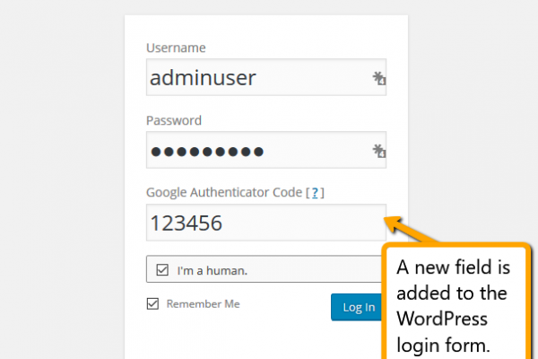 How the WordPress login for changes for Google Authenticator