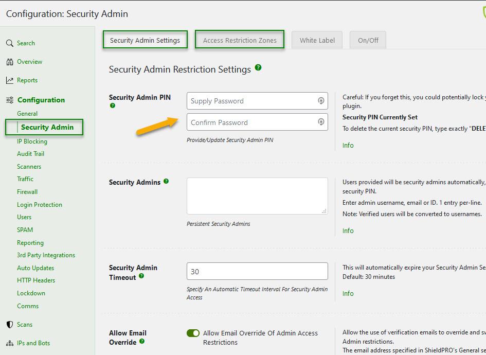 Shield Security WordPress plugin enabling Security Admin WordPress Options Restriction